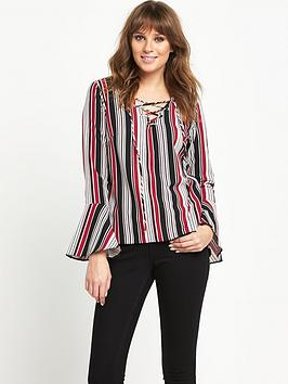 V by Very Fluted Sleeve Stripe Top