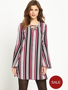 v-by-very-fluted-sleeve-tie-neck-tunic-dress