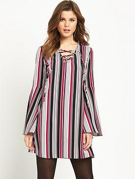 V by Very FLUTED SLEEVE TIE NECK TUNIC DRESS