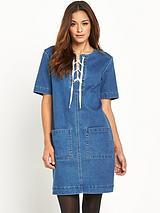 Denim Lace Front Pocket Trim Dress