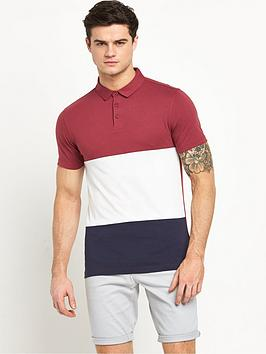 v-by-very-short-sleeve-colour-block-polo-top