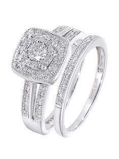 love-diamond-9ct-white-gold-50-point-diamond-square-set-split-shoulder-bridal-set-of-two-rings