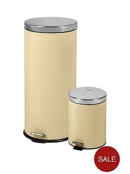 swan-retro-30-litre-and-5-litre-bin-set-cream