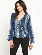 PRINTED WRAP OVER BLOUSE