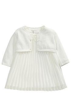 mamas-papas-pleat-dress-amp-cardigan-set