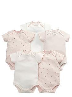 mamas-papas-baby-girls-pink-print-bodysuits-5-pack