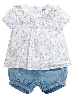 mamas-papas-baby-girls-floral-blouse-and-chambray-shorts-setnbsp