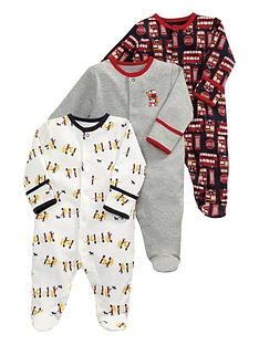 mamas-papas-3pk-london-buses-sleepsuits