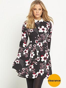 v-by-very-contrast-collar-printed-skater-dress