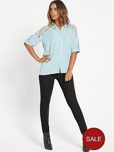 rochelle-humes-crochet-trim-chambray-shirt