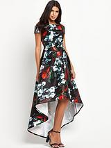 Digital Floral Print Bardot Dipped Hem Maxi Dress