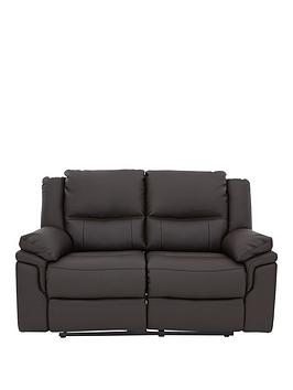 Albion Luxury Faux Leather 2 Seater Manual Recliner Sofa