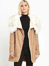 Faux Fur Collar Wool Parka