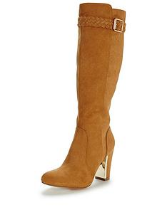 shoe-box-calverlynbspimi-suede-boho-heeled-knee-boot-plait-detailnbsp