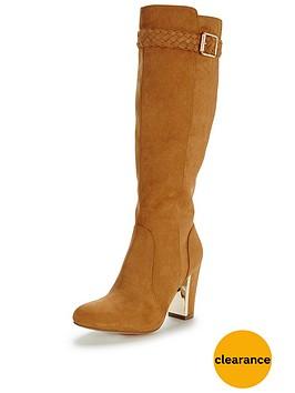 shoe-box-calverlynbspimi-suede-boho-heeled-knee-boot-plait-detailnbsp