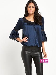 lipsy-lipsy-navy-mid-sleeve-swing-blouse
