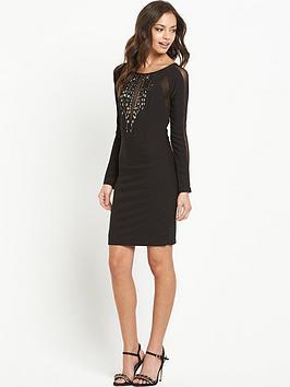 Lipsy Long Sleeve Stud Detail Bodycon Dress