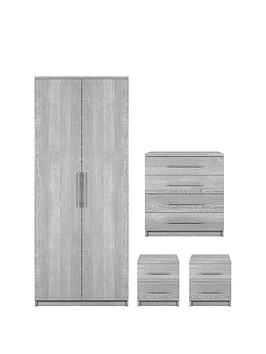 Prague 4-Piece Package - 2-Door Wardrobe, 4-Drawer Chest And 2 Bedside Cabinets thumbnail