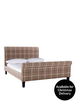 avebury-check-fabric-bed-frame-with-optional-mattress