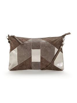 warehouse-suede-patchwork-crossbody-bag