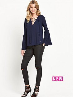 v-by-very-fluted-sleeve-top