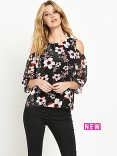 v-by-very-printed-cold-shoulder-top