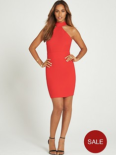 rochelle-humes-halter-neck-cross-pencil-dress