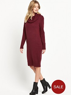 v-by-very-fluffy-yarn-cowl-neck-midi-dress