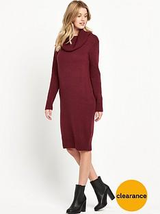 v-by-very-fluffy-yarn-cowl-neck-midi-dress