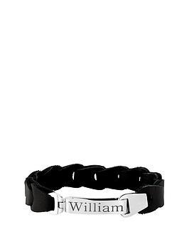 keepsafe-keepsafe-personalised-black-leather-and-stainless-steel-mens-bracelet