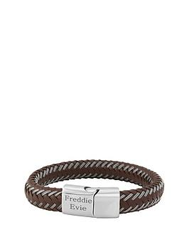 keepsafe-nbsppersonalised-brown-leather-and-stainless-steel-mens-bracelet