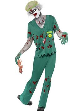 zombie-paramedic-costume-green-with-top-trousers-mask-hair-net-and-gloves