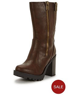 firetrap-quaff-double-zip-calf-boot