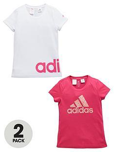 adidas-older-girls-logo-t-shirts-2-pack