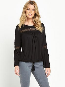 V by Very Lace Insert Long Sleeved Top