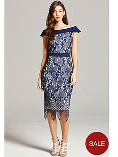little-mistress-lace-bardotnbspmidi-dress