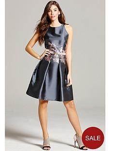 little-mistress-jacquard-print-fit-and-flare-dress