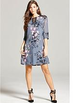 Navy Floral Print and Lace Dress