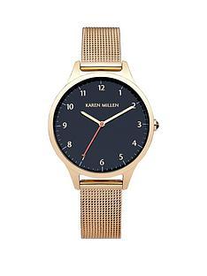 karen-millen-karen-millen-dark-blue-dial-gold-tone-stainless-steel-mesh-bracelet-ladies-watch