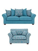 Bronte 3-Seater Fabric Sofa + Accent Cuddle Chair (Buy and SAVE!)