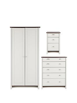 Consort Tivoli 3 Piece Ready Assembled Package - Wardrobe, 5 Drawer Chest And Bedside Cabinet thumbnail