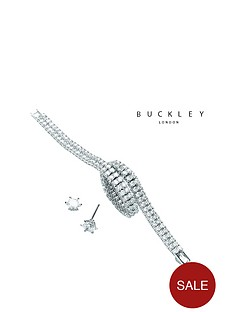 buckley-london-silver-plated-crystal-two-row-tennis-bracelet-amp-stud-earring-set