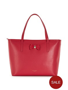 ted-baker-bow-detail-leather-crosshatch-shopper