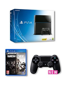 playstation-4-black-500gb-console-with-tom-clancys-rainbow-six-siege-and-dualshock-4-controller