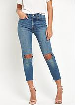 Wedgie Mom Fit Cut Off Jean