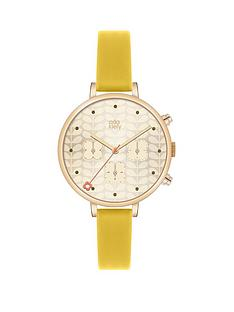 orla-kiely-orla-kiely-gold-flower-printed-dial-with-yellow-leather-strap-ladies-watch