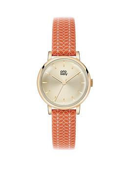 orla-kiely-orla-kiely-champage-gold-dial-with-red-and-cream-leather-strap-ladies-watch