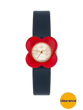 orla-kiely-champagne-gold-flower-print-dial-with-red-flower-bezelnbspladies-watch