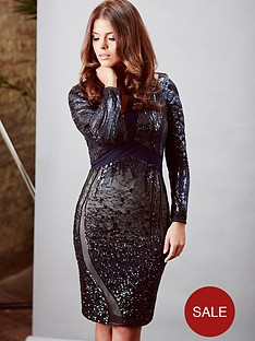 little-mistress-long-sleeve-embellished-dress