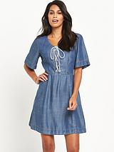 Denim Tencel Lace Up Dress